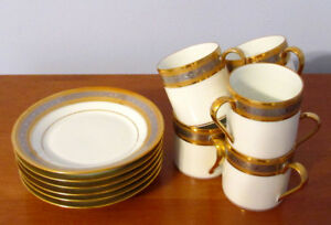 Limoges Porcelain 6 Coffee Cups with Saucers