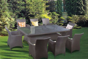 SALE: 9pc Wicker Rattan TABLE sets in Various COLOURS
