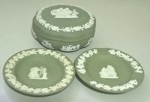 Wedgwood Sage Green Jasper Dip Box & 1 Small Plates, 1 Ashtray