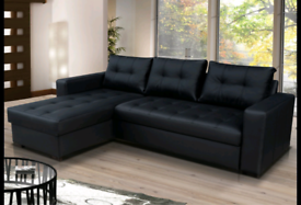 Black onyx faux leather sofa