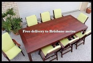 "Quality 10 piece ""kasule"" kwila OUTDOOR DINING SET- near new Brisbane City Brisbane North West Preview"