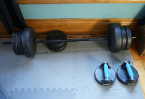 100 pounds of wieghts and curl bar
