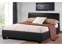 DOUBLE LEATHER BED IN BLACK AND BROWN AVAILABLE IN SINGLE AND KING SIZE BED