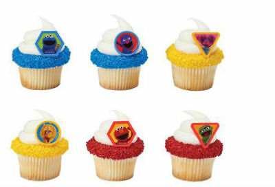 SESAME STREET GIGGLE CUPCAKE RING  CAKE DECORATIONS PARTY FAVORS 24 PC (Sesame Ring)