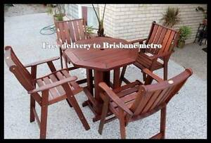 Quality (5 pce) Kwila high table outdoor dining set-FREE DELIVERY Brisbane City Brisbane North West Preview