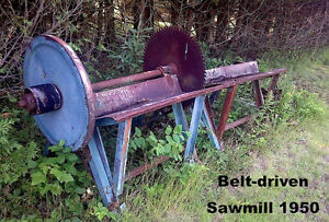 ANTIQUE PORTABLE CIRCULAR SAW MILL - BELT DRIVEN