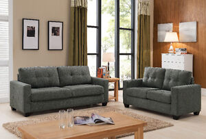 WAREHOUSE SALES@@$499 FOR 2PCS BRAND NEW FABRIC SOFA SET