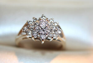 3/4 Carat Diamond Cluster Ring 14k Yellow Gold