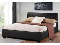 SUPREME QUALITY --- Double Leather Bed With 9Inch Deep Quilted Dual Sided Mattress