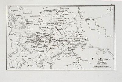 1857 Sachsen Thüringen Napoleonische Kriege Kupferstich-Landkarte