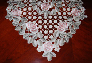 """NEW Elegant Table Runner in Embroidered Floral Pattern 80"""" Long"""
