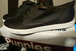 NEW Hush Puppies Roadside Oxford Sneaker Brown Leather 10.5