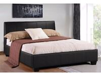 BRAND NEW HYGENA 4FT6 DOUBLE LEATHER BED & FREE 9 INCH SPRUNG MATTRESS + DELIVERY