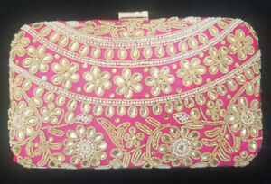 Pink and Gold Embroidered Boxed Clutch