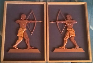 Carved Wood Figurine Standing Archers Picture Frames set of 2