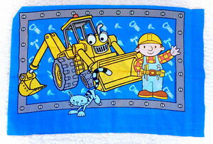 Vintage Bob The Builder Pillowcase Cover Case Blue Construction