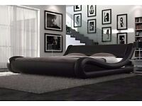 House clearance Modern Luxury Italian Black Faux Leather Double Bed