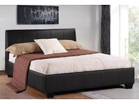 SPECIAL PRICE-BRAND NEW HYGENA GASLIFT STORAGE 4FT6 DOUBLE LEATHER BED + MATTRESS + FREE DELIVERY