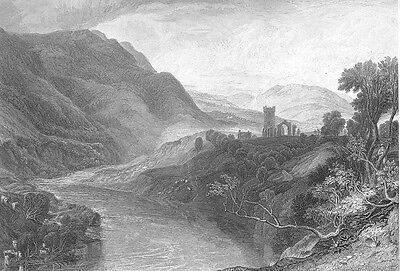 Yorkshire Dales National Park Abbey Ruins Swale River   1875 Art Print Engraving