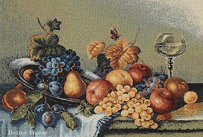 WALL JACQ. WOVEN TAPESTRY Antique Still Life - C.Pila Art WINE & GRAPE PICTURE