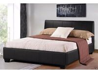 DOUBLE/ KING LEATHER BED MODERN DESIGN BLACK BROWN DOUBLE 4FT6 KINGSIZE 5FT