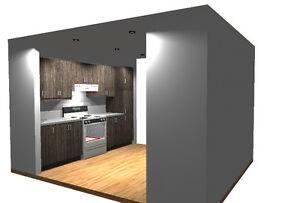 Armoire de cuisine neuve en forme de corridor 10pi. + 10pi.