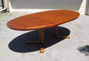 "110"" Long Mid Century Skovby Danish Teak Dining Table, 6 Chairs"