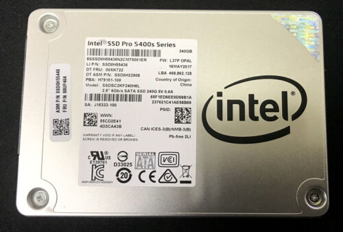 """Intel SSD Pro 5400S Series 2.5"""" SATA3 7mm 240GB LTC SSDSC2KF240H6L L37P R/W test"""