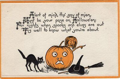 G Halloween (HALLOWEEN POSTCARD PUBLISHED BY G.K. PRINCE, SERIES 423, WITCH BEHIND JOL,)