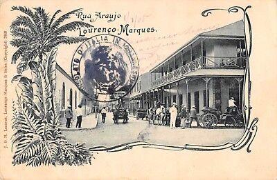 LOURENCO MARQUES - MAPUTO, MOZAMBIQUE, RUA ARAUJO, PEOPLE & VEHICLES used 1905