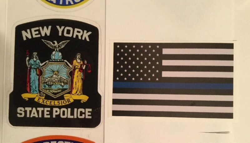 NYSP NYS State Police OFFICIAL In/Window Faces/Out Decal + Flag Blue Sticker *O