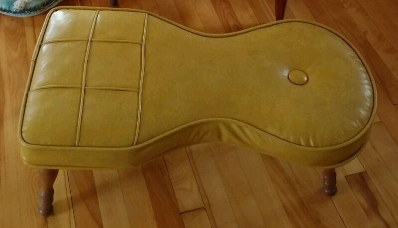 Vintage Mid Century Mustard Keyhole Shaped Fake Leather Vinyl Foot Stool