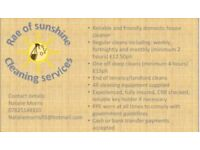 Rae of sunshine domestic cleaning services covering newton le willows and surrounding areas.