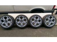 """Lambo reps. 18"""" 5x112 with brand new tires all around 225/40/18"""