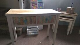 Up-Cycled Console Table with Decorpaged Draws