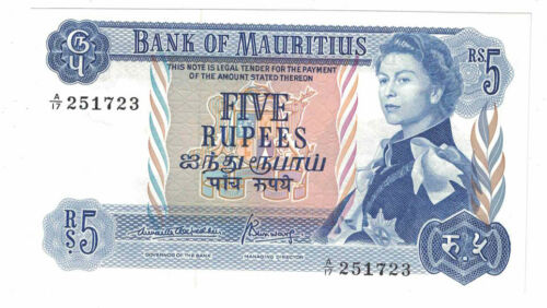Mauritius - ND(1967) Five Rupees Banknote (P-30b) - Very Nice!