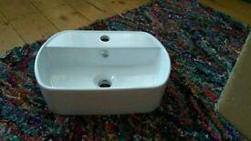 Ceramic sink basin white, brand new!