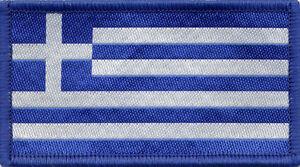 Greek Flag Greece Woven Badge, Patch 8cm x 4.5cm