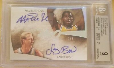 2015 Leaf Q Magic Johnson / Larry Bird #/3 Silver Spectrum Dual Auto BGS 9
