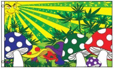 3x5 Marijuana Mushroom Flag Pot Weed Hippie Party Shrooms Fantasy Banner