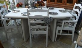 """Shabby chic, 4 ft 10"""", table and 4 x upholstered chairs, newly finished"""