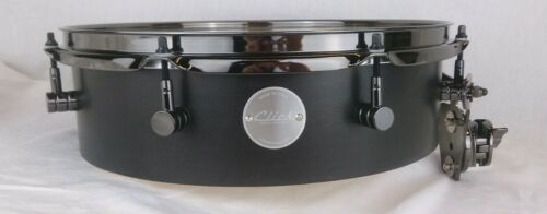 Click Drums 4x14 Pancake Tom Tom Black Satin Oil W/ Black Chrome Hardware