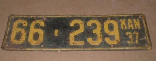 1937 Kansas License Plate KAN 66-239 Lincoln County  Tag