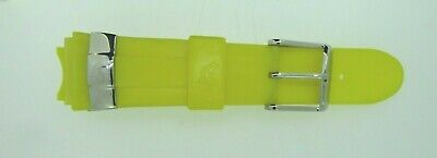 Yellow Rubber - Techno Master Yellow Rubber Watch Band With Stainless Steel Buckle 22mm