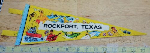 "VINTAGE ROCKPORT TEXAS FELT PENNANT 15"" {MC486}"