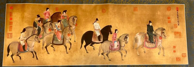 Large Chinese Scroll/Wallhanging Print With Case Court Ladies Riding Horses