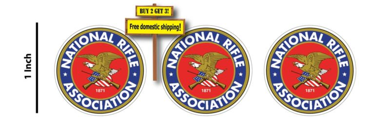 """NRA Logo Full Color Guns Motor Cycle 1"""" Decal Sticker (1 Pack =3 Decal Stickers)"""