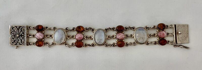 Sterling Vintage Bracelet with Jeweled Embellishments