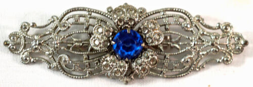 """Lovely Art Nouveau Brooch Bright Silver Finish and Faceted Blue """"stone"""" Nice Pin"""