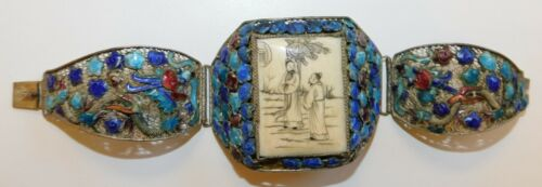 Chinese Export Silver, Enamel and Bone Bracelet